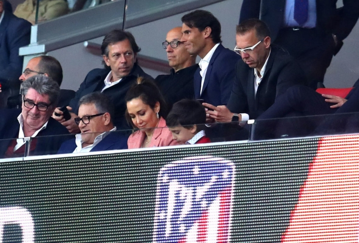 MADRID, SPAIN - MAY 03: Spanish Tennis player, Rafael Nadal watches on from the stands during the UEFA Europa League Semi Final second leg match between Atletico Madrid and Arsenal FC at Estadio Wanda Metropolitano on May 3, 2018 in Madrid, Spain. (Photo by Catherine Ivill/Getty Images)