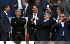 Tennis player Rafael Nadal (centre) in the stands during the UEFA Europa League, Semi Final, Second Leg at Wanda Metropolitano, Madrid. (Photo by Adam Davy/PA Images via Getty Images)