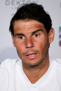 Rafa Nadal press conference during day three of the Mutua Madrid Open tennis tournament at the Caja Magica on May 6, 2018 in Madrid, Spain (Photo by Oscar Gonzalez/NurPhoto via Getty Images)
