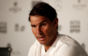 MADRID, SPAIN - MAY 7: Spanish tennis player Rafael Nadal holds a press conference of the 2018 Mutua Madrid Open tennis tournament at Caja Magica in Madrid, Spain on May 7, 2018. (Photo by Burak Akbulut/Anadolu Agency/Getty Images)