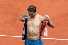 PARIS, FRANCE - MAY 29: Rafael Nadal is seen changing shirt during the 2018 French Open - Day Three at Roland Garros on May 29, 2018 in Paris, France. (Photo by Bertrand Rindoff Petroff/Pierre Suu/Getty Images)
