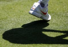 Tennis - Wimbledon Preview - All England Lawn Tennis and Croquet Club, London, Britain - June 30, 2018 General view of a trainer belonging to Spain's Rafael Nadal during practice REUTERS/Peter Nicholls