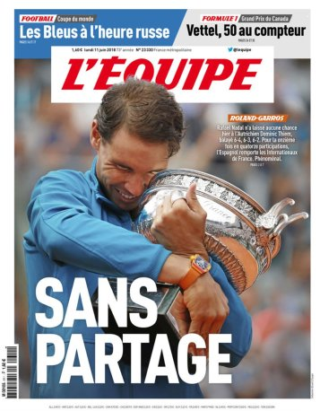 Rafael Nadal covers French newspaper LEquipe