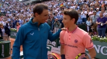 Rafael Nadal plays tennis with ball kid 2018 Roland Garros