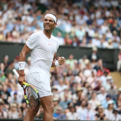 Mikhail Kukushkin KAZ v Rafael Nadal ESP in the second round of the Gentlemen's Singles on Centre Court. The Championships 2018. Held at The All England Lawn Tennis Club, Wimbledon. Day 4 Thursday 05/07/2018. Credit: AELTC/Tim Clayton