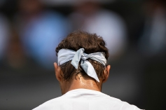 A detail of Rafael Nadal's headband during play against Mikhail Kukushkin KAZ in the second round of the Gentlemen's Singles on Centre Court. The Championships 2018. Held at The All England Lawn Tennis Club, Wimbledon. Day 4 Thursday 05/07/2018. Credit: AELTC/Jed Leicester