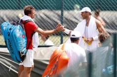 Tennis - Wimbledon Preview - All England Lawn Tennis and Croquet Club, London, Britain - July 1, 2018 Spain's Rafael Nadal and Switzerland's Stanislas Wawrinka shake hands during practice REUTERS/Peter Nicholls