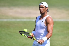Spain's Rafael Nadal practices at The All England Tennis Club in Wimbledon, southwest London, on July 1, 2018, on the eve of the 2018 Wimbledon Championships tennis tournament. (Photo by Ben STANSALL / AFP) / RESTRICTED TO EDITORIAL USE (Photo credit should read BEN STANSALL/AFP/Getty Images)