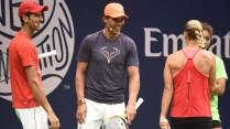 August 25, 2018 - Angelique Kerber, Novak Djokovic and Rafael Nadal participate during Arthur Ashe Kids' Day at the 2018 US Open. USTA/Mike Lawrence