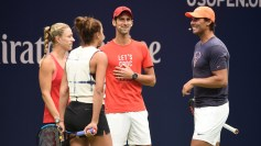 August 25, 2018 - Angelique Kerber, Madison Keys, Novak Djokovic and Rafael Nadal participate during Arthur Ashe Kids' Day at the 2018 US Open. USTA/Mike Lawrence
