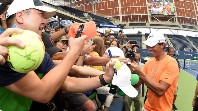 August 24, 2018 - Rafael Nadal greets fans during media day at the 2018 US Open. USTA/Mike Lawrence