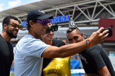 Rafael Nadal of Spain (2nd L) poses for a selfie with France's Jo-Wilfried Tsonga (L), Andy Murray of Britain (C) and Nick Kyrgios of Australia while wearing festive new year 2019 eyewear and party hats in front of the Queensland Tennis centre in Brisbane on December 31, 2018, at the Brisbane of International tennis tournament. (Photo by Saeed Khan / AFP) / -- IMAGE RESTRICTED TO EDITORIAL USE - STRICTLY NO COMMERCIAL USE -- (Photo credit should read SAEED KHAN/AFP/Getty Images)