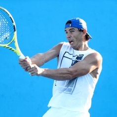 BRISBANE, AUSTRALIA - JANUARY 02: Rafael Nadal of SPain during a practise session during day four of the 2019 Brisbane International at Pat Rafter Arena on January 02, 2019 in Brisbane, Australia. (Photo by Chris Hyde/Getty Images)