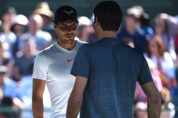 Rafael Nadal (ESP) and Roger Federer (SUI) before their practice at the 2018 Indian Wells Masters 1000 at Indian Wells Tennis Garden, California, USA, on March, 7, 2019., Image: 418004318, License: Rights-managed, Restrictions: , Model Release: no, Credit line: Profimedia, Abaca Press