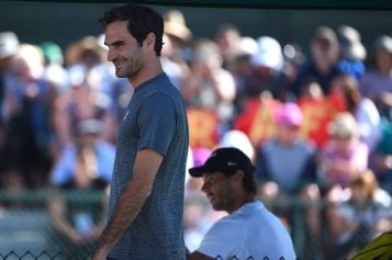 Rafael Nadal (ESP) and Roger Federer (SUI) before their practice at the 2018 Indian Wells Masters 1000 at Indian Wells Tennis Garden, California, USA, on March, 7, 2019., Image: 418004325, License: Rights-managed, Restrictions: , Model Release: no, Credit line: Profimedia, Abaca Press