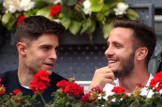 Atletico Madrid football player Saul Niguez watching Rafael Nadal second round match in Madrid 2019 photo