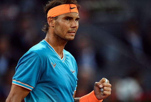 Spain's Rafael Nadal celebrates winning a point against US Frances Tiafoe during their ATP Madrid Open round of 16 tennis match at the Caja Magica in Madrid on May 9, 2019. (Photo by OSCAR DEL POZO / AFP) (Photo credit should read OSCAR DEL POZO/AFP/Getty Images)