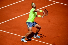 PARIS, FRANCE - MAY 29: Rafael Nadal of Spain plays a forehand during his mens singles second round match against Yannick Maden of Germany during Day four of the 2019 French Open at Roland Garros on May 29, 2019 in Paris, France. (Photo by Clive Mason/Getty Images)