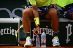 Spain's Rafael Nadal is seen during a break during their men's singles second round match against Germany's Yannick Maden on day four of The Roland Garros 2019 French Open tennis tournament in Paris on May 29, 2019. (Photo by Ibrahim Ezzat/NurPhoto via Getty Images)