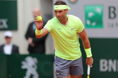 29th May 2019, Roland Garros, paris, France; French Open Tennis tournament; Rafael Nadal (ESP) prepares to serve to Yannick Madden (GER) (photo by Jon Bromley/Action Plus via Getty Images)
