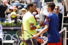 Rafael Nadal of Spain (L) won against Yannick MADEN of Germany during the Roland-Garros 2019, Grand Slam Tennis Tournament, men's draw on May 29, 2019 at Roland-Garros stadium in Paris, France. (Photo by Ibrahim Ezzat/NurPhoto via Getty Images)