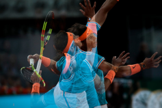 Rafael Nadal during the Mutua Madrid Open Masters match on day eight at Caja Magica in Madrid, Spain. May 11, 2019. (Photo by A. Ware/NurPhoto via Getty Images)