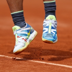 Tennis - French Open - Roland Garros, Paris, France - May 27, 2019. A view of Spain's Rafael Nadal's shoes during his first round match against Germany's Yannick Hanfmann. REUTERS/Vincent Kessler