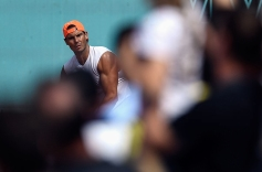 Spain's Rafael Nadal attends a training session during the ATP Madrid Open at the Caja Magica in Madrid on May 7, 2019. (Photo by OSCAR DEL POZO / AFP) (Photo credit should read OSCAR DEL POZO/AFP/Getty Images)