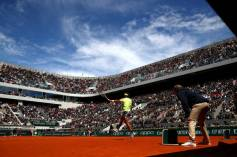 PARIS, FRANCE - JUNE 07: A general view as Rafael Nadal of Spain plays a forehand during his mens singles semi-final match against Roger Federer of Switzerland during Day thirteen of the 2019 French Open at Roland Garros on June 07, 2019 in Paris, France. (Photo by Julian Finney/Getty Images)