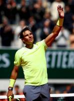 PARIS, FRANCE - JUNE 07: Rafael Nadal of Spain celebrates victory during his mens singles semi-final match against Roger Federer of Switzerland during Day thirteen of the 2019 French Open at Roland Garros on June 07, 2019 in Paris, France. (Photo by Julian Finney/Getty Images)