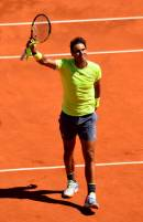 PARIS, FRANCE - JUNE 07: Rafael Nadal of Spain celebrates victory during his mens singles semi-final match against Roger Federer of Switzerland during Day thirteen of the 2019 French Open at Roland Garros on June 07, 2019 in Paris, France. (Photo by Clive Mason/Getty Images)