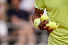Spain's Rafael Nadal holds balls during his men's singles quarter-final match against Japan's Kei Nishikori on day ten of The Roland Garros 2019 French Open tennis tournament in Paris on June 4, 2019. (Photo by Kenzo TRIBOUILLARD / AFP) (Photo credit should read KENZO TRIBOUILLARD/AFP/Getty Images)