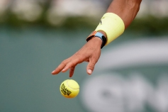 Spain's Rafael Nadal holds a ball during his men's singles quarter-final match against Japan's Kei Nishikori on day ten of The Roland Garros 2019 French Open tennis tournament in Paris on June 4, 2019. (Photo by Kenzo TRIBOUILLARD / AFP) (Photo credit should read KENZO TRIBOUILLARD/AFP/Getty Images)