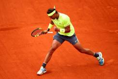 PARIS, FRANCE - JUNE 09: Rafael Nadal of Spain reacts during the mens singles final against Dominic Thiem of Austria during Day fifteen of the 2019 French Open at Roland Garros on June 09, 2019 in Paris, France. (Photo by Clive Brunskill/Getty Images)