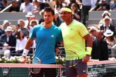 PARIS, FRANCE - JUNE 09: Rafael Nadal of Spain and Dominic Thiem of Austria pose for a photo ahead of their mens singles final during Day fifteen of the 2019 French Open at Roland Garros on June 09, 2019 in Paris, France. (Photo by Clive Brunskill/Getty Images)