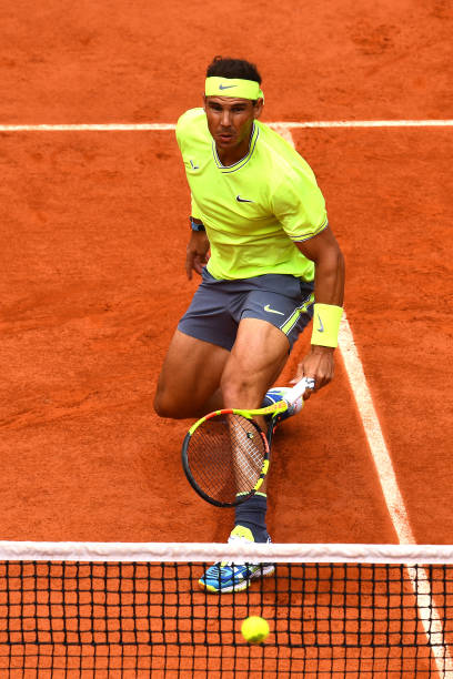 PARIS, FRANCE - JUNE 09: Rafael Nadal of Spain plays a backhand during the mens singles final against Dominic Thiem of Austria during Day fifteen of the 2019 French Open at Roland Garros on June 09, 2019 in Paris, France. (Photo by Clive Mason/Getty Images)