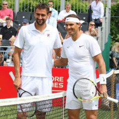 Marin Cilic and Rafael Nadal at the Aspall Tennis Classic - Pre Wimbledon grass court Exhibition event - at the Hurlingham Club in London on June 26th 2019 (Photo by Keith Mayhew/SOPA Images/LightRocket via Getty Images)