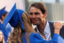 Spanish tennis player Rafa Nadal (R) greets a student during the graduation ceremony of Rafa Nadal Academy, students of American International School of Mallorca, in Manacor, Balearic Islands, Spain, 11 June 2019. EPA-EFE/, Image: 446196988, License: Rights-managed, Restrictions: , Model Release: no, Credit line: Profimedia, TEMP EPA