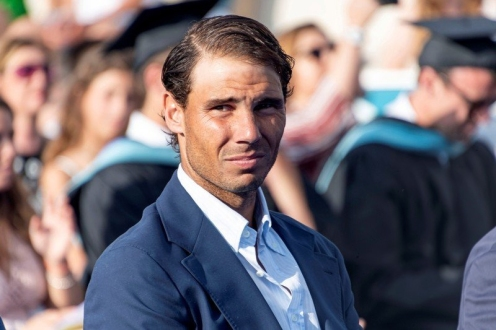 epa07641663 Spanish tennis player Rafa Nadal attends the graduation ceremony of Rafa Nadal Academy, students of American International School of Mallorca, in Manacor, Balearic Islands, Spain, 11 June 2019. EPA-EFE/CATI CLADERA