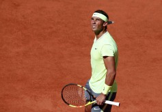 Tennis - French Open - Roland Garros, Paris, France - June 2, 2019. Spain's Rafael Nadal reacts during his fourth round match against Argentina's Juan Ignacio Londero. REUTERS/Benoit Tessier