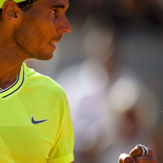Spain's Rafael Nadal reacts after winning a point against Argentina's Juan Ignacio Londero during their men's singles fourth round match on day eight of The Roland Garros 2019 French Open tennis tournament in Paris on June 2, 2019. (Photo by Christophe ARCHAMBAULT / AFP) (Photo credit should read CHRISTOPHE ARCHAMBAULT/AFP/Getty Images)