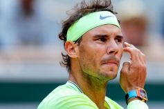 Spain's Rafael Nadal reacts during his men's singles quarter-final match against Japan's Kei Nishikori on day ten of The Roland Garros 2019 French Open tennis tournament in Paris on June 4, 2019. (Photo by Thomas SAMSON / AFP) (Photo credit should read THOMAS SAMSON/AFP/Getty Images)