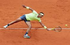 PARIS, FRANCE - JUNE 07: Rafael Nadal of Spain in action in his mens singles semi-final match against Roger Federer of Switzerland during Day thirteen of the 2019 French Open at Roland Garros on June 07, 2019 in Paris, France.. (Photo by Quality Sport Images/Getty Images)