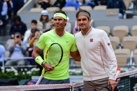Rafael Nadal (SPA) and Roger Federer (SUI) during the Semi Final of Roland Garros on June 7, 2019 in Paris, France. (Photo by Anthony Dibon/Icon Sport via Getty Images)