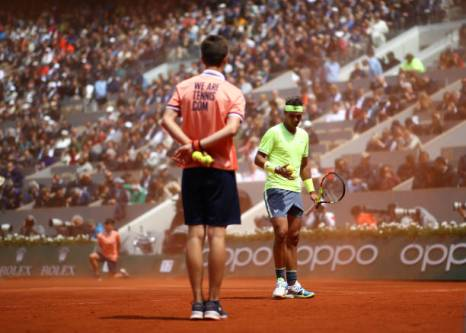 PARIS, FRANCE - JUNE 07: Rafael Nadal of Spain as clay and dust kicks up off of the court during his mens singles semi-final match against Roger Federer of Switzerland during Day thirteen of the 2019 French Open at Roland Garros on June 07, 2019 in Paris, France. (Photo by Julian Finney/Getty Images)