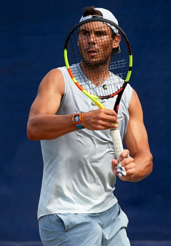 PALMA DE MALLORCA, SPAIN - JUNE 19: Rafael Nadal of Spain in a practice session during day three of the WTA Mallorca Open at Country Club Santa Ponsa on June 19, 2019 in Mallorca, Spain. Rafael Nadal held his practice after winning Roland Garros. He starts preparing for Wimbledon. on June 19, 2019 in Palma de Mallorca, Spain. (Photo by Quality Sport Images/Getty Images)