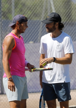 PALMA DE MALLORCA, SPAIN - JUNE 18: Rafa Nadal trains with his coach Carlos Moya at Santa Ponsa tennis club during the WTA Mallorca tennis tournament on June 18, 2019 in Palma de Mallorca, Spain. (Photo by Clara Margais/Getty Images)
