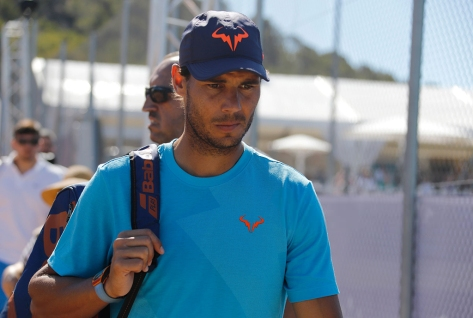 PALMA DE MALLORCA, SPAIN - JUNE 18:Rafa Nadal arriving to train at Santa Ponsa tennis club during the WTA Mallorca tennis tournamenton June 18, 2019 in Palma de Mallorca, Spain. (Photo by Clara Margais/Getty Images)