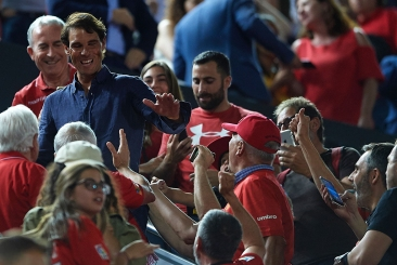 MALLORCA, SPAIN - JUNE 23: Rafael Nadal celebrates the victory of RCD Mallorca after the play off second leg match between Deportivo de La Coruna and Mallorca at Iberostar Stadium on June 23, 2019 in Mallorca, Spain. (Photo by Quality Sport Images/Getty Images)