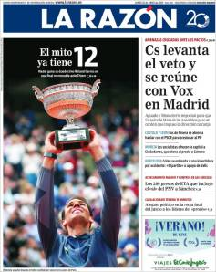 Rafael Nadal's Roland Garros Victory On Newspaper Front Pages (9)